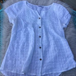 Prana blouse white top organic natural